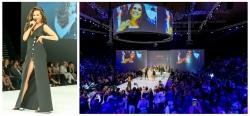 Pop Musikerin Medina auf der Präsentation von L'Oreal auf der Fashion Show in Berlin