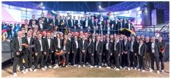 Gruppenbild WorldSkills Team Deutschland bei der Abschlussfeier der Weltmeisterschaften 2017 in Abu Dhabi